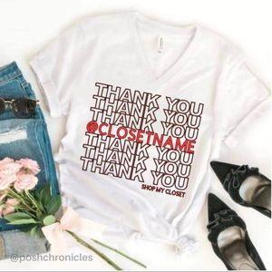 🅣🅗🅐🅝🅚🅢 Personalized Closet V Neck Tshirt